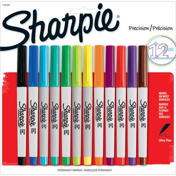 Sharpie Permanent Markers, Ultra Fine Point, Assorted Colors, 12 Count - Walmart.com