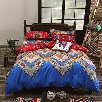 Bohemian Style 4 Polyester Duvet Cover Set, Floral Boho Design, Queen & King - Free Shipping