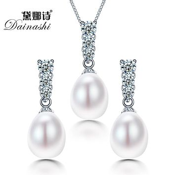 Women Geometric Natural Freshwater Pearl Jewelry Set With 925 Sterling Silver Jewelry