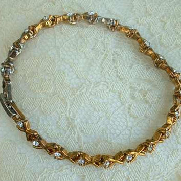 Art Deco Style Tennis Bracelet Rhinestone Hugs Kisses Copper Link Vintage Jewelry