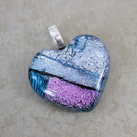Dichroic Glass Heart Gift Heart Jewelry Someone by mysassyglass