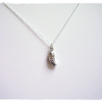 Silver Pickle Necklace - Sterling Silver Pickle Charm on a Delicate 18 Inch Sterling Silver Cable Chain