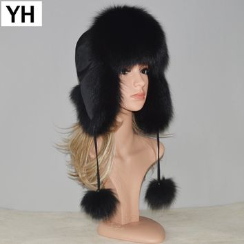 New Style Winter Genuine Real Fox Fur Hat Women 100% Natural Real Fox Fur Cap Quality Warm Russia Real Fox Fur Bomber Caps