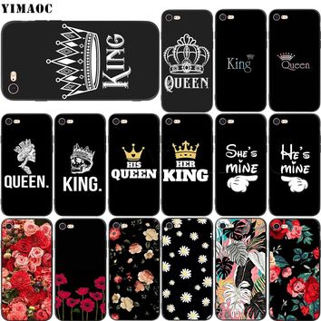 YIMAOC King Queen Couple Lovers Soft Silicone Case for iPhone XS Max XR X 8 7 6 6S Plus 5 5s se