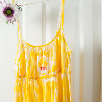 Hawaiian Sun Dress - Cotton Resort Dress - Beach Wedding Dress - Sale Sun Dress - Maternity Dress - Cotton Maxi Dress - Kauai Hand Painted