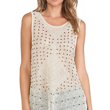 Free People Anjani Embellished Top in Cream