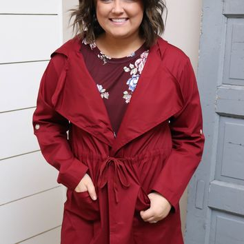 Burgundy Hooded Utility Jacket