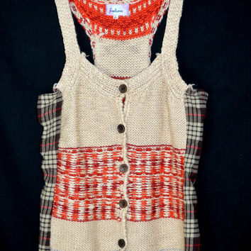 Freelance Funky Boho Upcycled look Vest  Anthropologie Sweater/Flannel