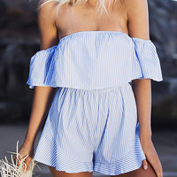Blue Stripe Off Shoulder Ruffle Bandeau Romper Playsuit