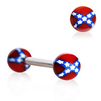 316L Surgical Steel Barbell with UV REBEL Flag Balls