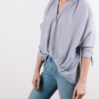 The Cadence Button Up Knot Blouse in Grey