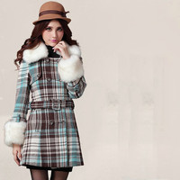 warm long women coat with fur collar and cuff, casual women coat jacket with colored check and waist belt