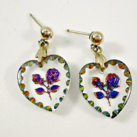 Vintage Glass Heart Colorful Metallic Rose Intaglio Cameo Post Pierced Earrings Pretty Drop Dangle Earrings