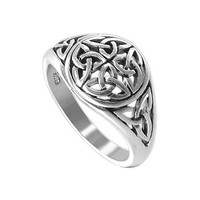 Gem Avenue 925 Sterling Silver Polished Finish 11mm Round Front Celtic Knot Ring
