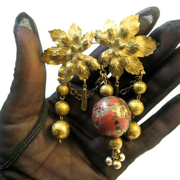 Golden Leaves Dangle Brooch Cloisonné Tasseled Ball 3 inch Dimensional  Leaves Textured Beads Unique Unusual Vintage Brooch