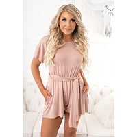 Aberdeen Cross Back Romper (Dusty Pink)