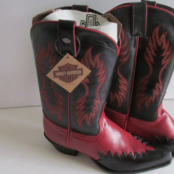 Harley Davidson Boots  Womens sz 6.5 Euro 37 Boots Red and Black Leather Boots sz 6.5 Harley Chick Cowboy Cowgirl Boots sz EU 37