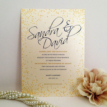 Script Wedding Invitation Printed On Luxury Cream Pearlescent Paper    Golden Dots   Royal Blue And