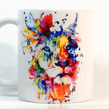 Lion coffee mug, Lion mug Watercolor Mug, Coffee Cup, Tea Cup, Gift for her, Gift for him, Printed mug, Ceramic mug