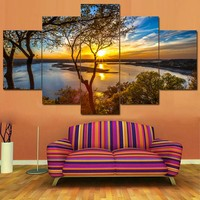 Canvas Wall Art: Beautiful Sunrise Over The Water Wall Art on Canvas 5-Panel
