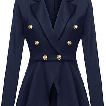 Blue Irregular Pleated peplum peacoat Double Breasted Turndown Collar Long Sleeve Office Blazer