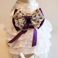 Purple Lace Dog dress, Dog ring bearer, Purple Wedding accessory