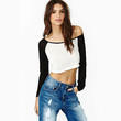Chic Women Sexy Long Sleeve Crewneck T shirt Casual Cropped Crop Top Blouse Tops