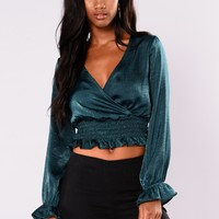 Katarina Ruffle Crop Top - Hunter Green