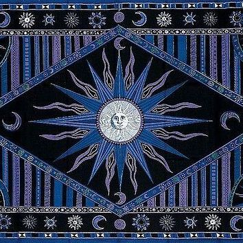 Handmade 100% Cotton Celestial Sun Moon Star Tapestry Coverlet Throw Twin Purple