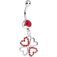 Red Gem Lucky in Love Clover Dangle Belly Ring | Body Candy Body Jewelry