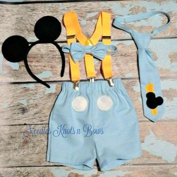 Boys Blue Mickey Mouse Cake Smash Set, Boys Light Blue Mickey Mouse First Birthday Cake Smash Birthday Outfit