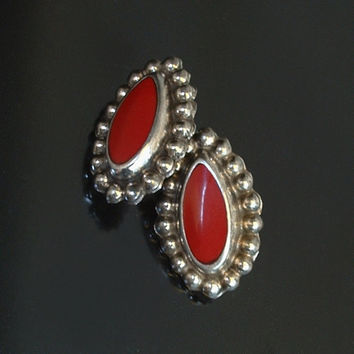Early Vintage MEXICAN Sterling Silver EARRINGS Red ONYX Hallmarked Post Backs 11.6 Grams c.1940s