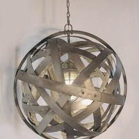 Vintage Olive Basket Pendant Light