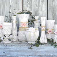 Burlap and Lace Pink Shabby Chic Vase Collection, Wedding Vase Decor, Rustic Shabby Chic Wedding