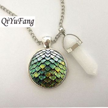 QiYuFang jewelry With White Crystal Steampunk glass Game of Thrones Dragon Egg Pendant Necklace 1pcs/lot men toy vintage charms