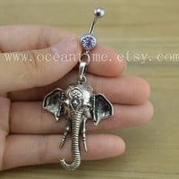 Elephant Belly Button Rings,elephant Navel Jewlery,lucky belly button ring,elephant belly ring,summer jewelry