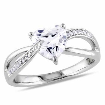 7.0mm Heart-Shaped Lab-Created White Sapphire and Diamond Accent Promise Ring in Sterling Silver