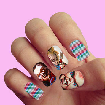 Child's Play Chucky Pop Art Vintage Movie Halloween Trick or Treat - Nail Art - Nail Decals