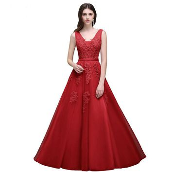 A-Line Prom Dress Long Short Applique Sleeveless Formal Evening Gown Party Prom Dresses