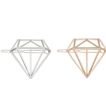 Geometric Hollow Diamond Barrette (Gold or Silver)