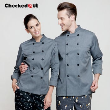 Hot 2016 Checked out cook suit long-sleeve work wear restaurant autumn and winter clothes chef  jacket grey top quality