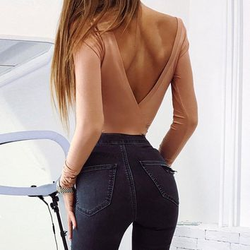 Sexy Backless Long Sleeve Autumn Bodysuit Women Jumpsuits Bodysuits Sexy Bodycon Overalls Clothes WS4304V