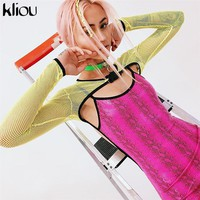 Kliou women fashion Reflector green button Waistcoat crop top 2018 mesh full sleeve short sexy zip-up striped sweatshirts