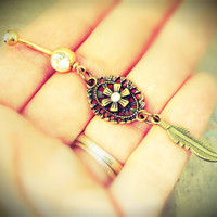 Gold Aztec Flower Belly Button Jewelry with Gold Feather