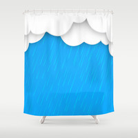 Abstract 3D Rain Shower Curtain by Elizabeth Andersson