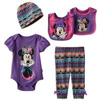 Disney's Minnie Mouse 5-pc. Boxed Geo Bodysuit Set - Baby Girl, Size: 0-6 MONTHS (Purple)