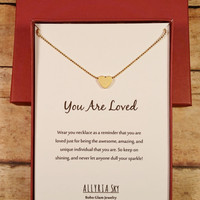 "Petite Gold Plated Heart Necklace with ""You Are Loved"" Card 