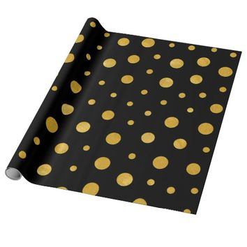 Elegant polka dots - Black Gold Wrapping Paper