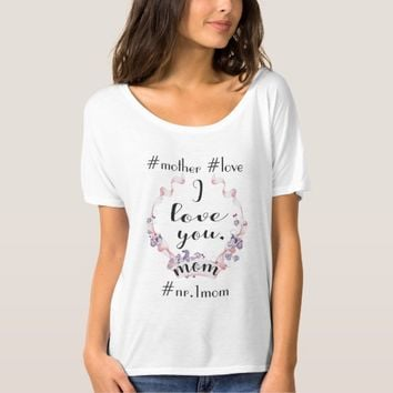 Watercolor Pink Ribbon Ivy Wreath Mother's Day T-Shirt