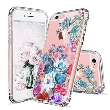 DCCKV2S iPhone 6 Case, iPhone 6s Cover, MOSNOVO Floral Flower Garden Pattern Printed Clear Design Transparent Plastic Hard Slim Back Case with TPU Bumper Protective Case Cover for Apple iPhone 6 6s (4.7 Inch)